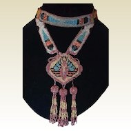 Egyptian Revival Winged Scarab Art Deco Flapper Steel Seed Bead Necklace