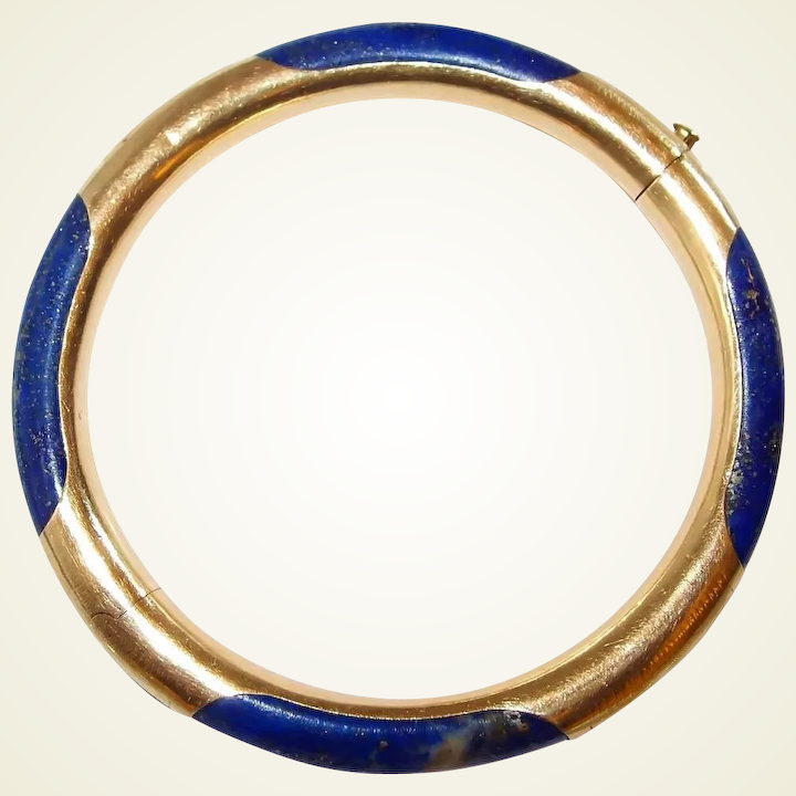 Chinese 14k Gold Lapis Lazluli Etched Bangle