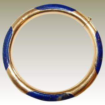Chinese 14k Gold Lapis Lazluli Etched Bangle