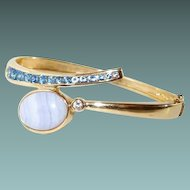 Bypass Bracelet Gold Vermeil Sterling Blue Topaz Agate Crystal Hinged