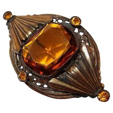 FINAL REDUCTION SALE Victorian Simulated Citrine Glass Brass Pin