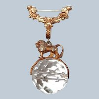 Greek Mythology Lion Brooch on Spinning Crystal Ball Last Chance SALE