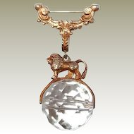 Greek Mythology Lion Brooch on Spinning Crystal Ball
