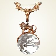 Greek Mythology Lion Brooch on Spinning Crystal Ball