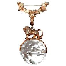 Greek Mythology Lion FINAL REDUCTION SALE  Brooch on Spinning Crystal Ball