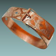 Etched Victorian Gold-filled Buckle Bangle Dated 1872