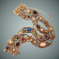 Goldette Double Chain Slide Bracelet Victorian Style Motif Charms