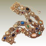 Goldette Double Chain Slide Bracelet FINAL REDUCTION SALE Victorian Style Motif Charms