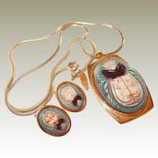 Whiting Davis Egyptian Resin Scarab Pendant Earrings Set