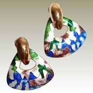 Artistic Flowing Enamel Cloisonne Post Earrings