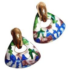 Artistic Flowing Enamel Cloisonne Post Earrings