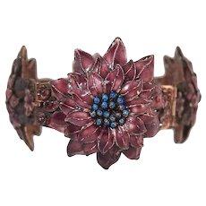 Chinese Enamel Cherry Blossom Bracelet FINAL REDUCTION SALE Sterling Filigree
