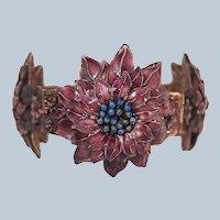 Last Chance SALE Chinese Enamel Cherry Blossom Bracelet Sterling Filigree