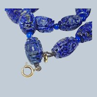 9k and Lapis Chinese Carved Barrel Bead Necklace Last Chance SALE