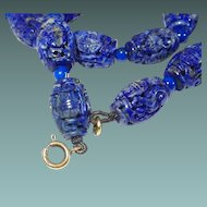 Chinese Lapis Lazuli 9K Fine Carved Hollow Bead Necklace