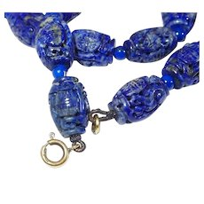Chinese Lapis Lazuli 9K Fine Carved Hollow Bead Necklace FINAL REDUCTION SALE