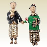 Chinese Couple in Love Clip Pins 1940 Enamel by Watler Lampl Rare Book Set