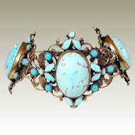 Robins Egg Blue Glass Filigree Enameled Bracelet