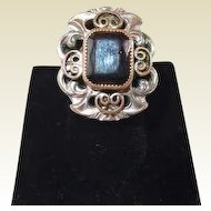 Silverplate Whiting and Davis Glass Hermatite Ring