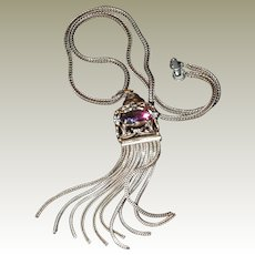 Long Tassel Snake Chain Necklace Caged Amethyst Stone