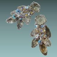 Two Dimensional Smoke and Blue Peach Aurora Borealis Leaf Motif Rhinestone Clip Earrings