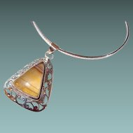 Cut-out Sterling Triangle Pendant with Agate Stone on Round Collar Chain