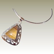 Cut-out Sterling Triangle Pendant with Agate Stone FINAL REDUCTION SALE Round Collar Chain