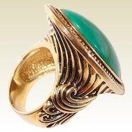 Green Marble Large Face Cocktail Ring Greek Motif