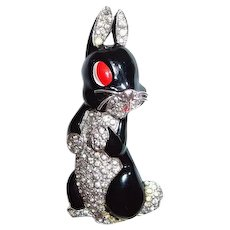 Trifari Alfred Philippe Black Rabbit Silver Whiskers Pin Clip 1938