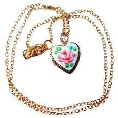 Childs Rose Heart Locket Necklace in Gilloche Enamel