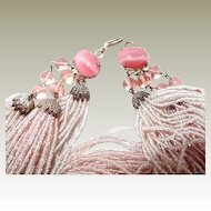 Beaded Necklace 86 Strands FINAL REDUCTION SALE Soft Pink Glass Seed Beads