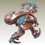 Austrian Sterling Elf Santa or Folk Art Character Pin with Turquoise