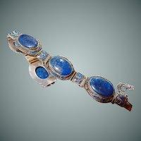 Chinese Silver Vermeil Lapis Lazuli Enamel Bracelet Rare