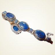 Chinese Silver Vermeil Lapis Lazuli Enamel Bracelet Rare FINAL REDUCTION SALE