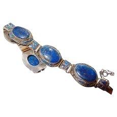 Chinese Silver Vermeil Lapis Lazuli Enamel Bracelet Rare FINAL REDUCTION SALE