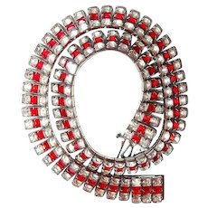 Red Art Deco Square Stone Link Collar Necklace Rhodium
