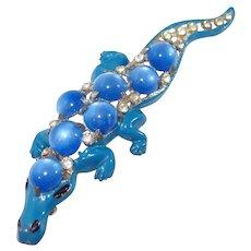 Blue Enamel Alligator Brooch of Pot Metal Rhinestones Moon-glow Cabochons