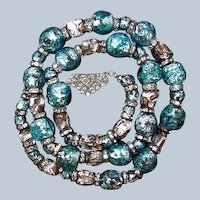 Foiled Glass Gablonz Bead Necklace Turquoise Silver Rondelles Last Chance SALE