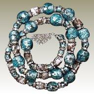 Foiled Glass Gablonz Bead Necklace FINAL REDUCTION SALE Turquoise Silver Rondelle Bead Necklace