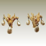 Coral Motif Haute Couture Mosell Faux Pearl Drop Earrings