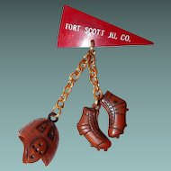 Early Plastic Football Charm Novelty Pin, Fort Scott, JU. CO.