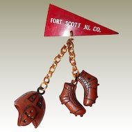 Early Plastic FINAL REDUCTION SALE Football Charm Novelty Pin, Fort Scott, JU. CO.