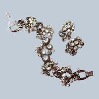 Last Chance SALE Smoke Crystal DeLizza Elster Juliana Floret Bracelet Earring Set