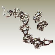 Smoke Crystal DE Juliana Floret Bracelet Earring Set