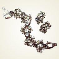 Smoke Crystal DeLizza Elster Juliana Floret Bracelet Earring Set End of Year BLOWOUT SALE