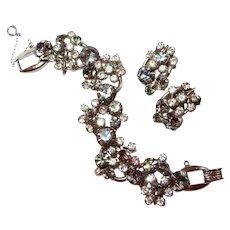 Smoke Crystal DE Juliana FINAL REDUCTION SALE Floret Bracelet Earring Set
