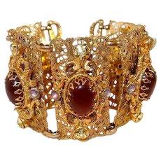 Wide Filigree Bracelet FINAL REDUCTION SALE Faux Opal Carnelian Peridot Glass Stones, Extra Long
