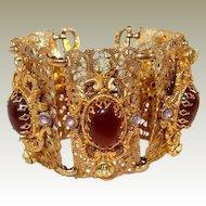 Wide Filigree Bracelet with Faux Opal Carnelian Peridot Glass Stones, Extra Long