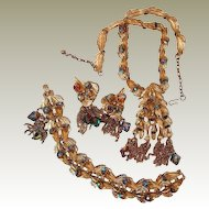 Designer Jewelry Suite Leaf Motif Tassels Rhinestone Necklace Bracelet Earrings