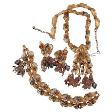 Designer Jewelry Suite FINAL REDUCTION SALE Leaf Motif Tassels Rhinestone Necklace Bracelet Earrings